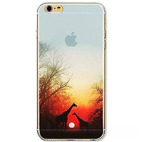 vanki® iPhone 7 hülle Tasten Landschaft Schutzhülle Clear Case Cover Bumper Anti-Scratch TPU Silikon Durchsichtig Handyhülle für iPhone 7 (4,7 Zoll) (Montain top) Giraffe