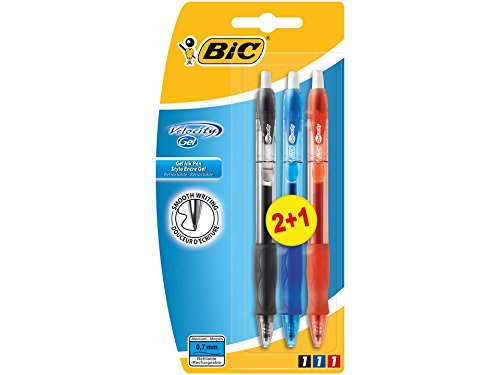 BIC Gel-Ocity – Pack de 2+1 bolígrafos, color azul, negro y roja