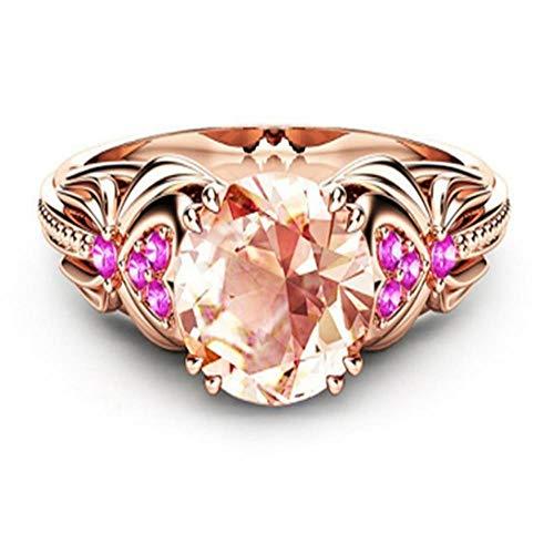 OLGN Ringe Für Modische Damenring Einzigartige Schöne Rose Gold Champagner Und Rosa Steinring Weiblichen Ehering 10
