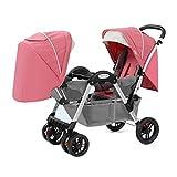 Kinderwagen,Zwillingswagen Falten Praktisch (anwendbar Auf Kleinkinder Von 0 Bis 36 Monaten) Licht Wagen (Farbe : Pink)