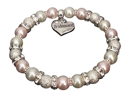 Geschenk mit Charme Mädchen Blume Mädchen Hochzeit Schmuck + Gratis Organza Tasche, pink ivory, 17cm - approx 10 years-teen ()