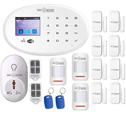 GSM Sistema de alarma WiFi con detector de movimiento para puertas y ventanas 1 estación meteorológica...