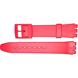 New 17mm (20mm) Sized Resin Strap Compatible for Swatch® Watch - Red - RG14R