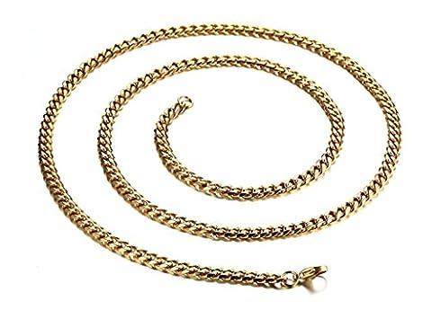 Aooaz Edelstahl Anhänger Halskette Unisex Link Kette Einfach Design 60CM Herren Halskette Anhänger Gold Retro Gothic