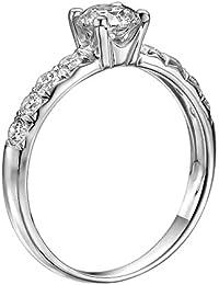 Zertifikat Klassischer 18 Karat (750) Weißgold Damen - Diamant Ring Round 1.10 Karat G-SI1 (Ringgröße 48-63)