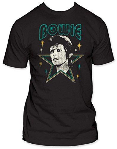 David Bowie - - Herren-Sterne Fitted T-Shirt in Schwarz Black