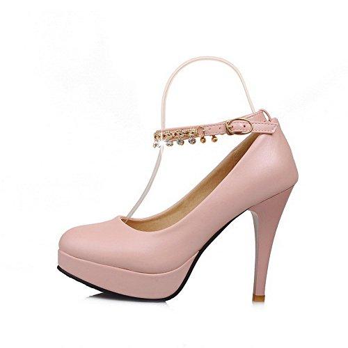 VogueZone009 Femme Matière Mélangee Boucle Rond à Talon Haut Couleur Unie Chaussures Légeres Rose