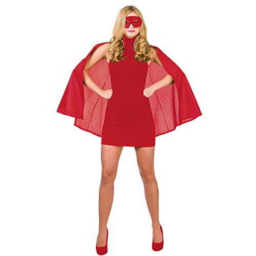 Super Hero Cape with mask Red Superhero Costume Heroine Super Woman (Female Super Hero Kostüm)