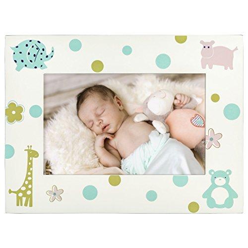 Hama Baby und Kinder Bilderrahmen Nicki für Foto-Größe 10 x 15 cm, Fotorahmen aus Holz mit Tiermotiven, zum Aufstellen und Aufhängen, Echtglas, weiß