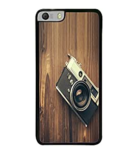 Fuson Premium 2D Back Case Cover Camera on wooden wall With Black Background Degined For Micromax Canvas Knight 2 E471