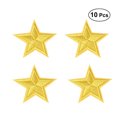 SUPVOX Star Embroidered Patch Iron On Applique Small Decorative Patch for T-Shirt 10pcs
