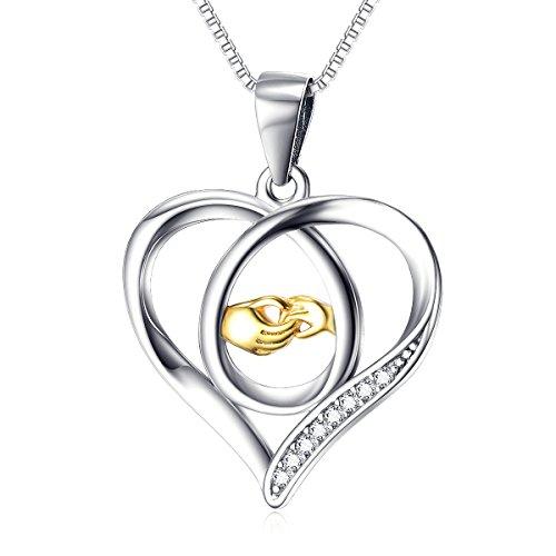 yfn Eternal Love Mutter und Kind vergoldet Hände Herz Sterling Silber Anhänger Halskette, 45,7cm
