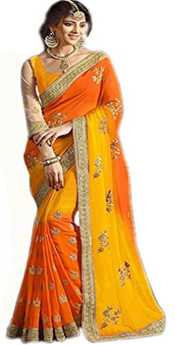I-Brand Women's Georgette Saree With Blouse Piece (Isunsa1972-Mix_Orange)