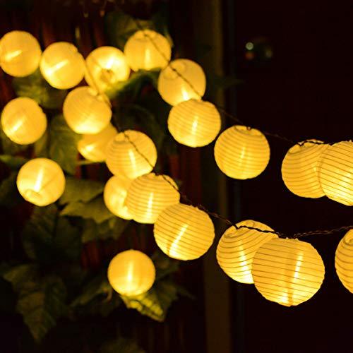 Kaiercat Solar Lichterketten, Laternen Lichterketten Outdoor Solarleuchten, wasserdichte Gartenlaterne für Party, Hochzeiten, Weihnachten, Garten, Balkon, Dekoration (20pcs-16.4ft) (Warmweiß)