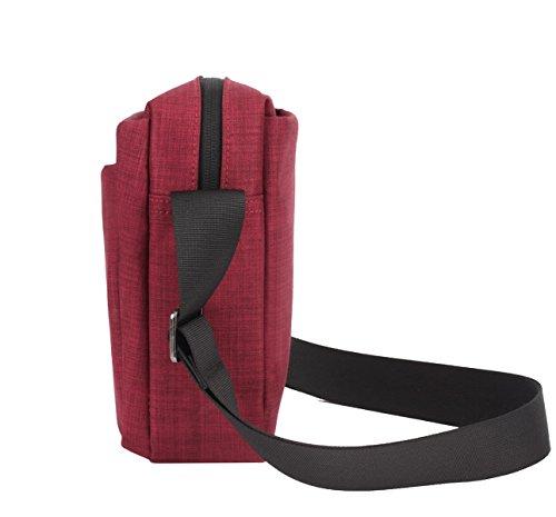 Borse Yy.f Nylon Uomini Borsa A Tracolla Borsa Del Computer Portatile Di Ipad Pacchetto Diagonale Degli Uomini Sacchetto Solido Colore 2 Red