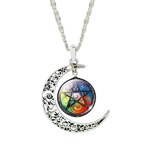 Dama Colores Hélice Galáctica Nebular Celtas Cruzan Luna Tiempo Brillante Collar De Gema
