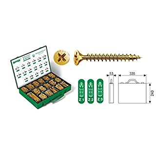 ABC SPAX Screws Yellow Galvanised in Tin Box 17Compartment 3226Set Assorted Colours