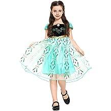 """Katara - Vestido de disfraz para niñas, inspirado por Anna de la pelicula """"La reina del hielo"""" - verde/turquesa, traje para una fiesta de disfraces, talla 9-11 años"""
