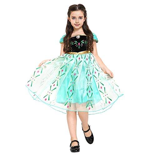 Katara - Anna Kostüm-Kleid für Kinder inspiriert von Disney für Karneval, Fasching, Eiskönigin-Partys
