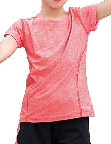 Echinodon Mädchen Sport-Set Schnelltrockend Shirt + Shorts Anzug für Yoga Jogging Training Rot 130 -
