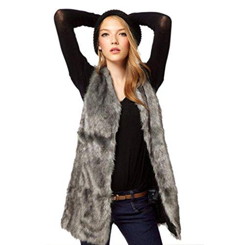 Ärmellose Weste aus Kunstfell für Damen von Sonnena, hält im Winter warm, langes Gilet M grau (Ärmelloses Legeres Kleid)