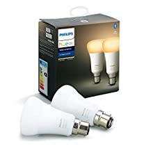 Philips Hue White Ambiance Smart Bulb Twin Pack LED [B22 Bayonet Cap] with Bluetooth, Works with Alexa and Google Assistant