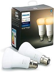 Philips Hue Pack de 2 Bombillas Inteligentes LED B22, con Bluetooth, Luz Blanca de Cálida a Fría, Posibilidad