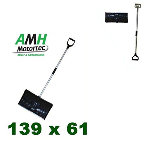 1x AMH-MOTORTEC Schneeschieber / Schaufelbreite: 61 cm / Leichter und hochwertiger Aluminium-Stiel / Schneeschaufel Schneeräumung Schnee Schaufel Schieben
