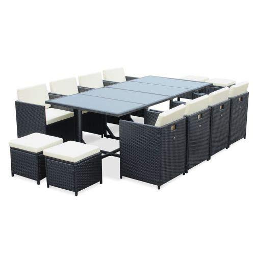 Salon de Jardin 8-12 Places - Cubo - Coloris Noir, Coussins écrus, Table encastrable, Cube.