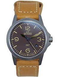 LIV MORRIS LIV MORRIS 1967 VALBERT No. 3 LEDER 0732066353805 - Reloj para hombres, correa de cuero color marrón