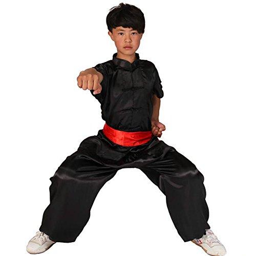 ZooBoo Kids 'Unisex Seide Kung Fu Anzug Uniformen Short Sleeve Kampfkunst Tai Chi Kleidung Morning Übung passt, schwarz (Seide Chinesisches Kung Fu Kleidung)