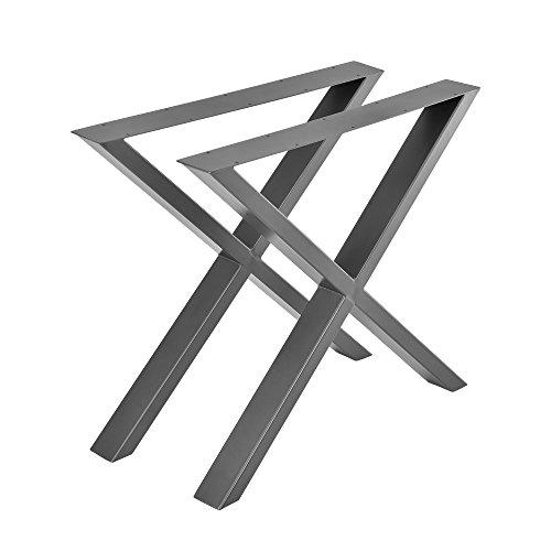 [en.casa] 2X Tischgestell 79x72cm DIY Tisch Esstisch Esszimmertisch Tischuntergestell Tischkufen Tischbein X-Gestell Stahlgrau Stahl