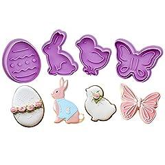 Idea Regalo - KAISHANE Set di 4 Pasqua Formine Biscotti per Primavera Stampi Biscotti Taglierine del Biscotto in plastica per Decorazioni in Fondente
