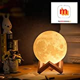 Mimu ShopTM 3D LED Touch Sensor Moon Lamp, Brightness Changeable, 16 cm, Multicolour, Big