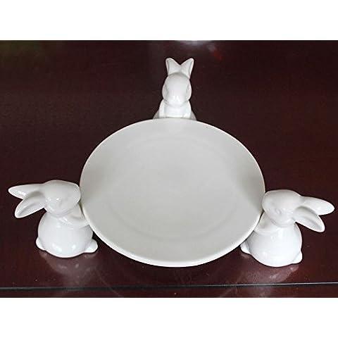 YRZT Artesanía de plataforma creativa decoración cerámica conejo , disc 33*19.5*9.5