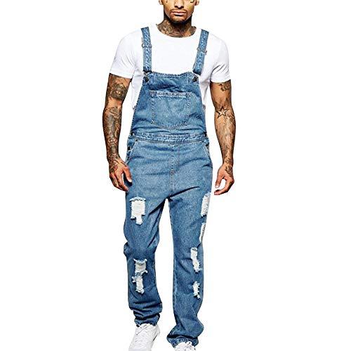 Adisputent Herren-Latzhose-Overall-Latzshorts-Arbeitshosen Jeans Jumpsuit Overall Shorts Lightwash Hosenträger Kurze Jeanshose Denim Latzshorts Freizeit (L/EU M, Lang Loch Blau)