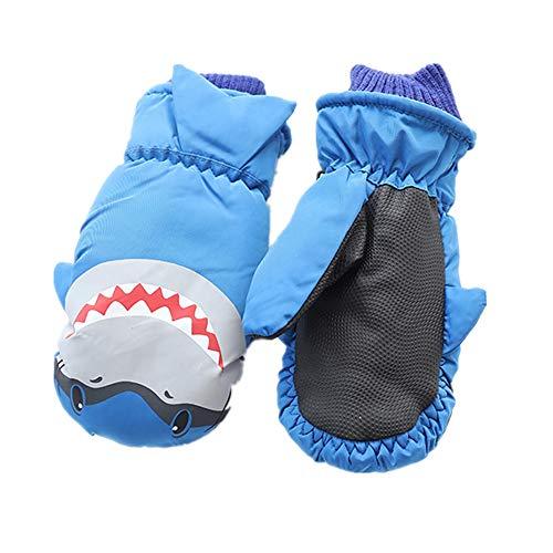 Eshall Skihandschuhe Fäustlinge Winddicht Wasserdicht Schnee Handschuhe Winterhandschuhe für Kinder 4–8 Jahre (Blau) | 00743811422943