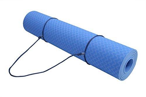 ObboMed fy-1806rutschfeste TPE Yoga-Matte 182,9x 61cm, 1/10,2cm (6mm) Dicke mit Bonus, der Gurt & Tasche für Hot, Bikram, Ashtanga Yoga Pilates Gymnastik, nicht giftig, hellblau - Nicht Giftig Yoga-matte