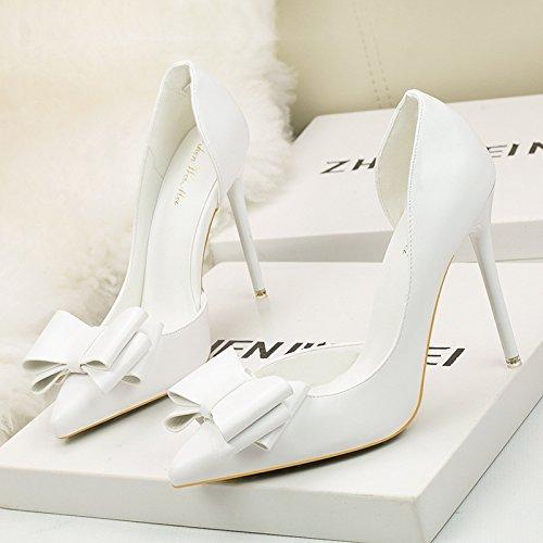 scarpe alto lato luce tacco singola con dolce Alla luce della tacco filtro esposto scarpe e a belle alto il White Bow ugello Tie punta T16WS1