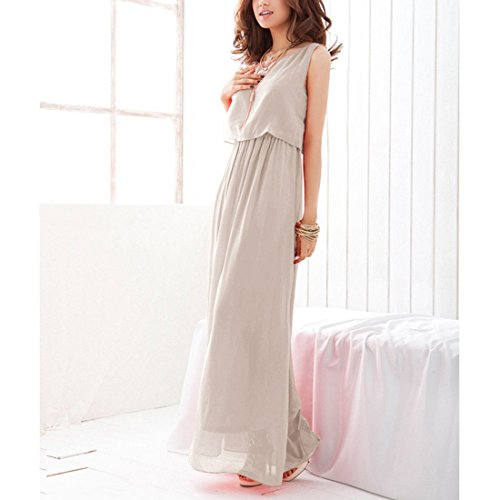 JXLOULAN Womens boho maxi robe en mousseline de soie semi sheer sans manches longue robe plissée gray