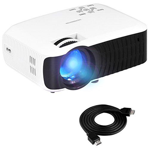 Yaufey 2200Lumens LED Mini Heim Tragbare Beamer mit freiem HDMI Kabel, Mit 2200 Lumen Unterstützung 16,77 Millionen Farbnummer, Geeignet für Innen-und Außenbereich Familienmitglieder Film Nacht, Weiß