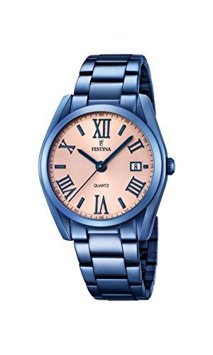 Festina Reloj de Cuarzo para Mujer con Oro Rosa Esfera analógica Pantalla y Azul Pulsera de Acero Inoxidable F16864/1