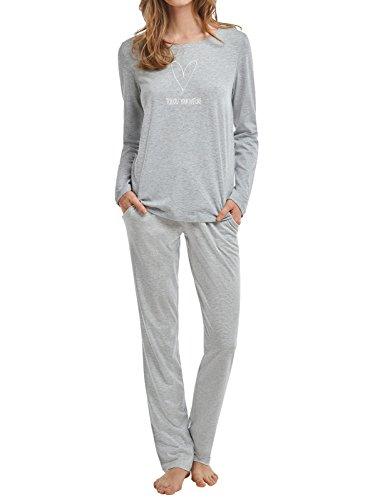 Marc O´Polo Body&Beach Damen Zweiteiliger Schlafanzug W-Loungeset LS Crew-Neck, Grau (Grau-Mel....