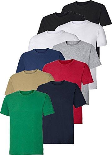 ColorU - 10er Pack Unisex T-Shirts/Oberteile für Damen und Herren, einfarbige Basic Unterhemden in schwarz, weiß und vielen Anderen Farben (Größe S - 4XL)