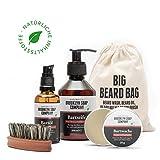 Bartpflege-Set: Big Beard Bag ✔ bestehend aus Bartseife, Bartöl, Bartwachs und Bartbürste ✔ Naturkosmetik der BROOKLYN SOAP COMPANY ® ✔ Geschenkidee als Geschenk für Männer und als Reiseset
