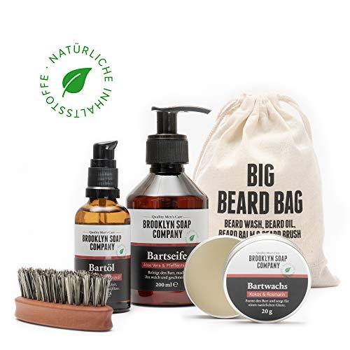Brooklyn Soap Company: Big Beard Bag · Hochwertiges Bartpflege-Set inkl. Bartbürste für Männer mit Vollbart · Bartshampoo, Bartöl, Bartwachs & vegane Bartbürste ✓