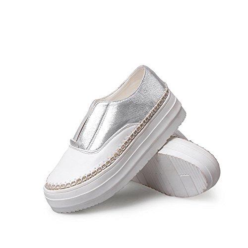 VogueZone009 Damen Ziehen Auf Rund Zehe Gemischte Farbe Wasserdicht Plattform Pumps Schuhe Silber