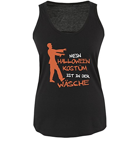 Comedy Shirts - MEIN HALLOWEEN KOSTÜM IST IN DER WÄSCHE ZOMBIE - Damen Tank Top Schwarz / Weiss-Orange Gr. (College 2 Jungs Kostüme Halloween)
