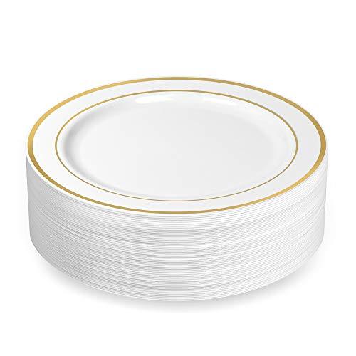 BloominGoods Einweg-Teller, Kunststoff, Weiß mit goldfarbenem Rand 10.25 in. Dinner Plates White/Gold Rim Gold Rim Dinner
