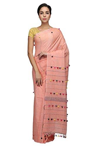 The Weave Traveller Women Handloom Khadi Khesh Saree with Pom Pom on...